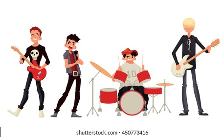 Rock band cartoon style vector illustration isolated on white background. Musicians - singer guitarist drummer solo guitarist bassist. Isolated vector rock band musicians