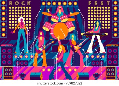 Rock band on stage. Rock concert, festival, rock party or Xmas party invitation card. Handmade drawing vector illustration. Vintage style. Flat design.