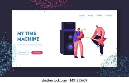 Rock Band Performing Musical Concert on Stage. Electric Guitarist and Trumpeter near Huge Dynamic, Artists Playing Music Show Website Landing Page, Web Page. Cartoon Flat Vector Illustration, Banner
