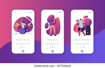 Rock Band Performing on Stage Mobile App Page Onboard Screen Set. Men Artists Playing Musical Instruments Guitar, Trumpet, Drums. Show Concept for Website or Web Page, Cartoon Flat Vector Illustration