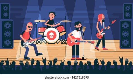 Rock band playing on stage. The musical ensemble performs a song at a concert. Vector flat illustration.