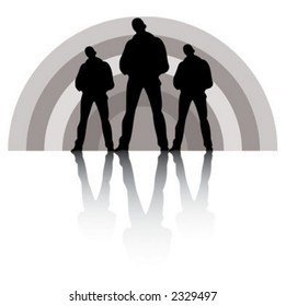 Rock band. Silhouettes of six musicians.