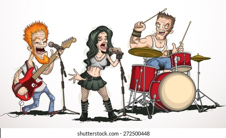 Rock band of three musicians