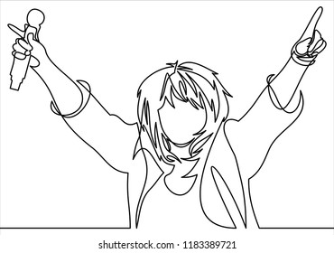 Rock band vocalist with singing to microphone with the hands raised up- continuous line drawing