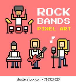 Rock bands Pixel Art. Elements Design. Illustration and icon.