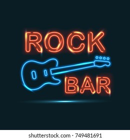 Rock bar red and blue neon sign on dark background.
