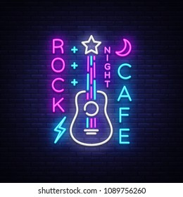 Rock Cafe Logo Neon Vector. Rock Cafe Neon Sign, Concept with guitar, Bright Night Advertising, Light Banner, Live Music, Karaoke, Night Club, Neon Signboard, Design Element. Vector illustration