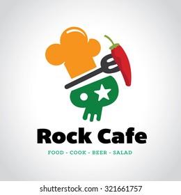 Rock cafe,Food,tree logo,restaurant logo,Vector logo template
