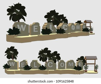 Rock Carving Welcome Sign, Vector & Illustration