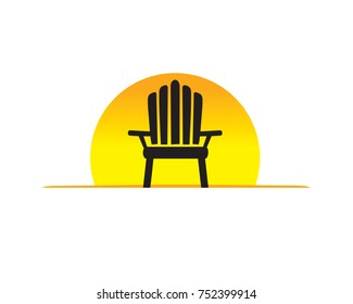Rock chair with Sunset Background