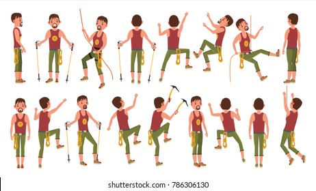 Rock Climber Boy Set  Vector. Rock Climbing Sport. Sport And Leisure Activity Concept. Isolated On White Cartoon Character Illustration