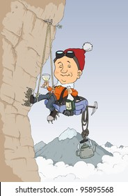 Rock climber climbs the hill and drink champagne