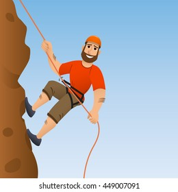 Rock climber. A guy climbs on a rock. Cartoon character.