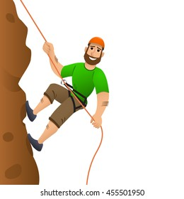 Rock climber. Man commits to rise the steep slope. Cartoon character.