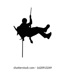 Rock Climber Silhouette on white background. Rappelling silhouette.