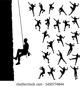 Rock climber silhouettes. Body positions in the wall climbing. Vector set
