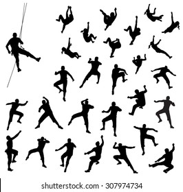 Rock climber silhouettes - vector set