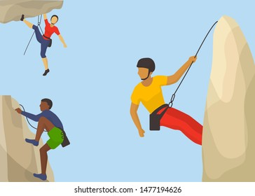 Rock climbers in protective helmet climb a mountain vector illustration. Caucasian and african man climbing a mountain with a rope. Sport and leisure activity concept. Flat design
