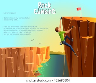 Rock Climbing boy. Beautiful nature landscape background. Bouldering sport. Graphic Design. Vector Illustration