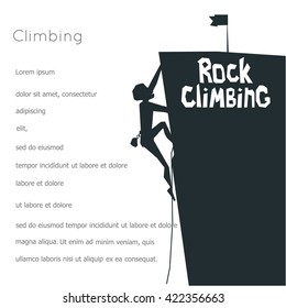 Rock Climbing boy. Isolated On White Background. Bouldering sport. Black print. Vector Illustration