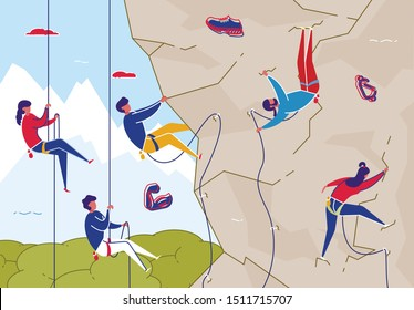 Rock Climbing for Friends and Family Flat Cartoon Vector Illustration. Woman and Man on Bouldering Wall with Equipment. Summertime Activities, Healthy Lifestyle. Extreme Outdoor Sport.