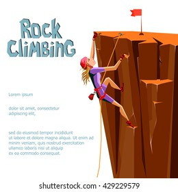 Rock Climbing girl. Isolated On White Background. Bouldering sport. Graphic Design Editable For Your Design. Vector Illustration