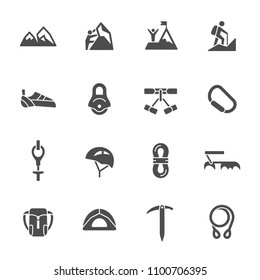 Rock climbing icon set