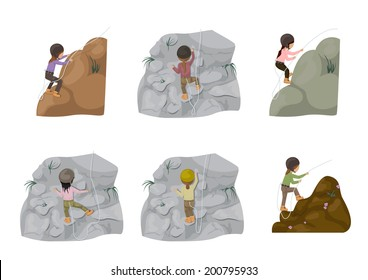 Rock Climbing People - Isolated On White Background - Vector Illustration, Graphic Design Editable For Your Design