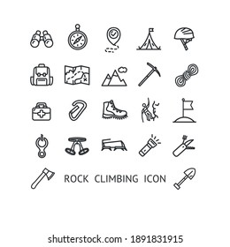 Rock Climbing Sign Thin Line Icon Set Include of Helmet, Backpack and Carabiner. Vector illustration of Icons