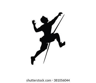 rock climbing silhouette man image logo vector