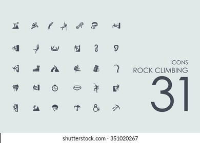 rock climbing vector set of modern simple icons