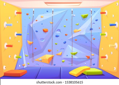 Rock climbing wall with grips, mats and ropes for bouldering activity in gym or recreation area for scaling in amusement park or kids playground. Alpinism training place. Cartoon vector illustration