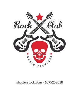 Rock club music festival logo, emblem for rock band, festival, guitar party or musical performance, design element with crossed electric guitars and skull vector Illustration