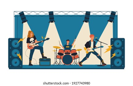 Rock concert. Metal band playing live music on stage illuminated by spotlights. Youth musical festival. Cartoon popular people singing with microphone and sound equipment. Vector group of musicians