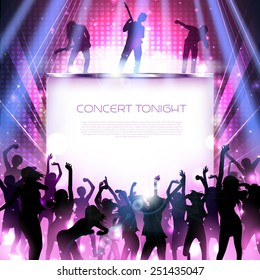Rock concert stage with dancing silhouettes and band - vector