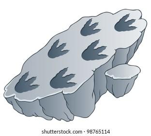 Rock with dinosaur footprints - vector illustration.