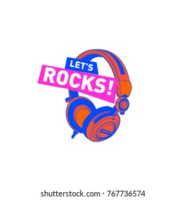 Rock DJ colorful logo and icon for party