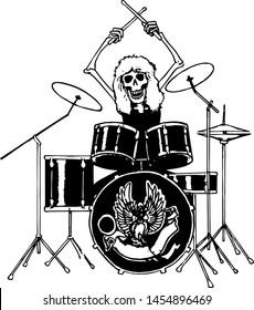 Rock Drummer Skeleton Art Vector