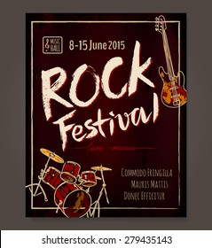 Rock event poster or flyer temlpate. Vector illustration