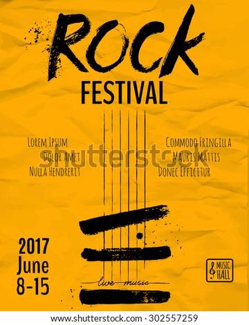 Rock Event Poster Flyer Template Vector Stock Vektorgrafik