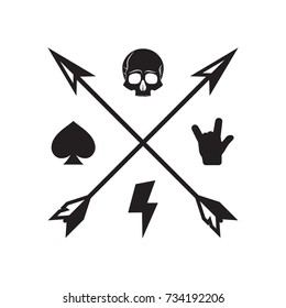 Rock fest badge/Label. Crossed arrows with skull, spade, rock hand and lightning bolt . For signage, prints and stamps.