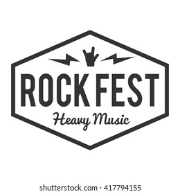 Rock fest badge/Label. For signage, prints and stamps. Punk hardcore metal festival hipster logo with hand. Heavy music