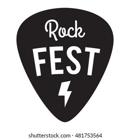 Rock fest badge/Label. For signage, prints and stamps. Guitar pick/mediator. Rock music festival logo with lightning bolt