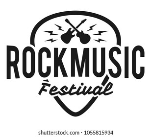 Rock fest badge/Label vector. Heavy music festival hipster logo with guitars. For band signage, prints and stamps.