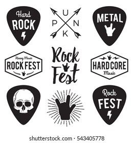 Rock fest badge/Label vector set. For band signage, prints and stamps. Black festival hipster logo with guitars, skull and hand
