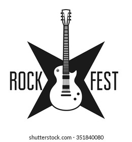 Rock fest banner with the guitar