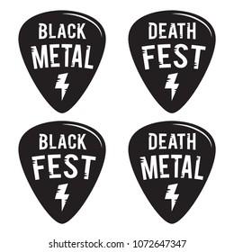 Rock fest black and death metal badge/Label vector set. Hard Rock music hipster logo guitar pick mediators. For death metal band festival party signage, prints and stamps