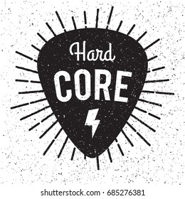 Rock fest Hardcore badge/Label. Guitar pick/mediator with light rays. For signage, prints and stamps. Hardcore music