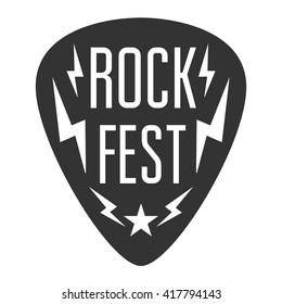 Rock fest logo band badge. Guitar pick. Mediator with lightning bolts. heavy punk hardcore festival stuff