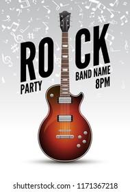 Rock festival flyer event design template. Guitar rock vector poster music band.